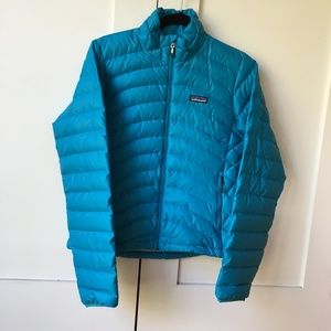 Aqua blue Patagonia down jacket/sweater
